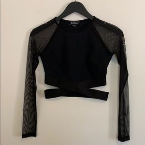 NWT Bebe Mesh L/S Crop Top in Size XS